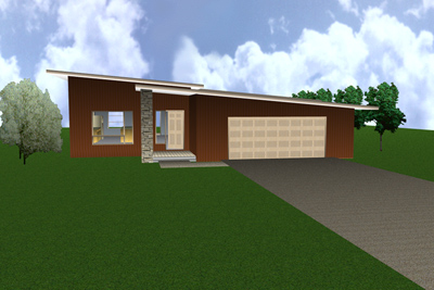 Link to the JC-53 modern house design 3d view 1